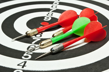 dartsboard with darts