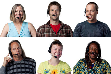 Six people with headsets