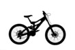A silhouette of a mountain bike isolated on white background