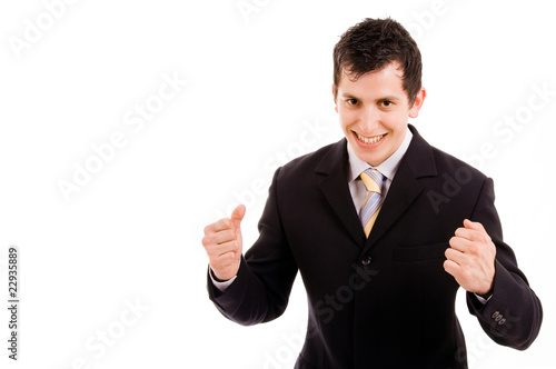 happy energetic businessman with his arms raised, isolated on wh