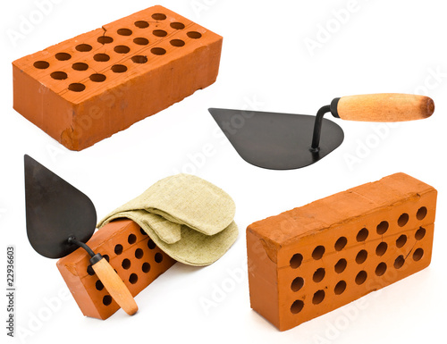 Red perforated ceramic brick, trowel and gauntlet set isolated o