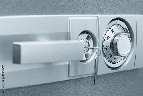 Leinwanddruck Bild Safe with combination lock