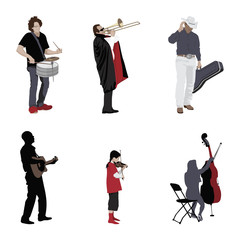 musicians with their instruments