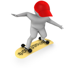 3d skateboarder isolated on white