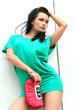 girl in green short dress