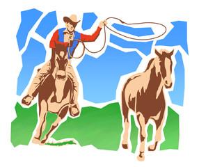 カウボーイと馬
