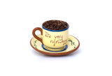Coffee beans in cup with words It's Very Refreshing