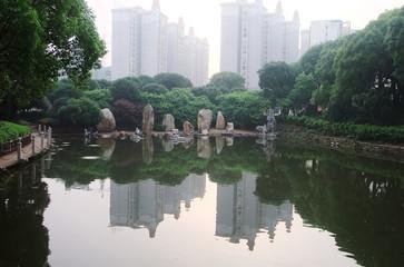 Lake in city