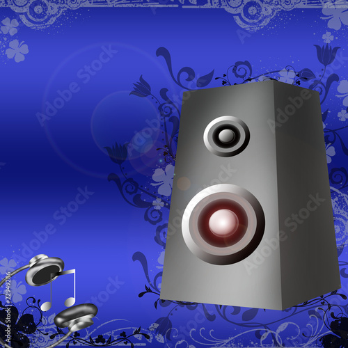 Speakers and headphones on blue background