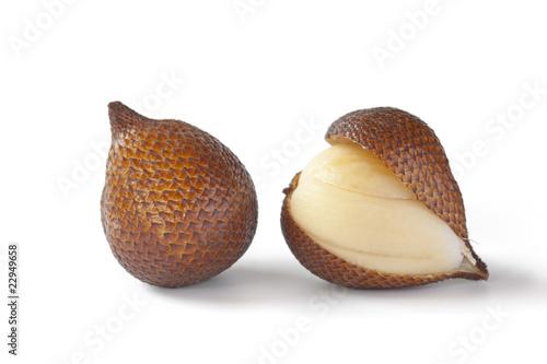 Foto op Plexiglas Indonesië One and a half snakefruit at white background