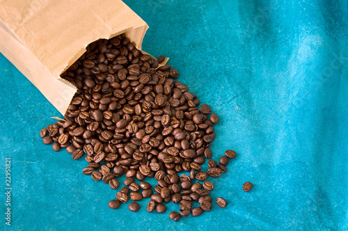 coffee beans on blue