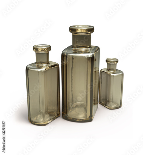 Old brown bottles isolated on white 3d model