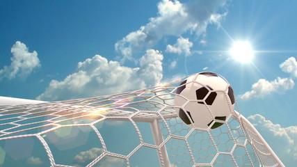 soccer ball is slowly flying in the goal