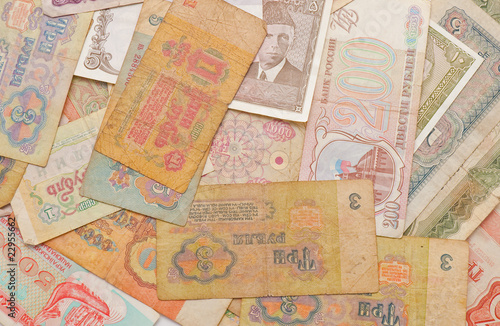 Background from banknotes of the old sample