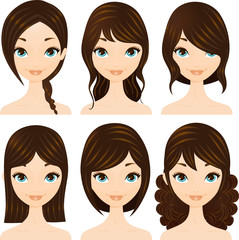 Hairstyles set Brunette