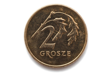 Macro close-up of polish 2 grosze coin
