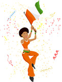 Black Girl Ivory Coast Soccer Fan with flag. poster