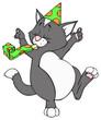 Katze, Kater, Geburtstag, Party, Feier, Partyhut, Fest