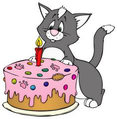 Geburstag, Geburtstagstorte, Torte, Katze, Geburtstagskarte