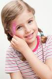 Little girl with band-aid on forehead poster
