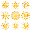 Yellow glossy sun icons collection isolated on white.