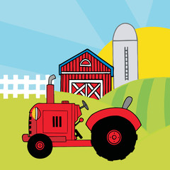 Red Farm Tractor In A Pasture Near A Barn And Silo
