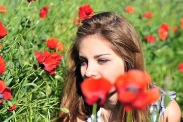 girl through high poppies