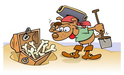 Pirate dog finds a treasure chest full of bones