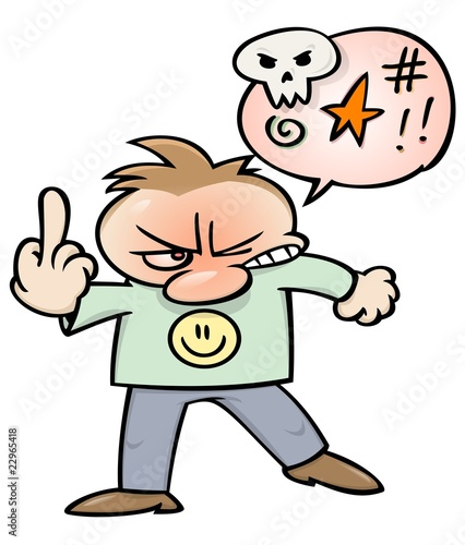 Angry cursing man flipping the bird