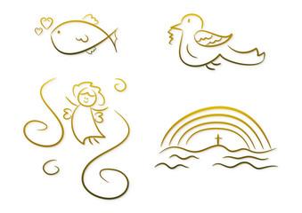 Christliche Symbole für Kinder (z.B. Erstkommunion, etc.)