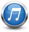 Blue music button vector