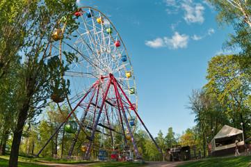 Merry go round wheel in park amusement