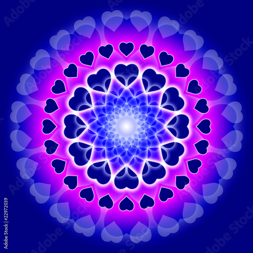 Blue Love Mandala - Circle of hearts