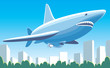 Fantastic dirigible-shark flying over the city vector image