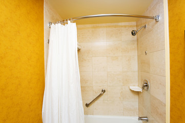Bathroom interior - Bathtub and white curtain