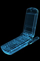 Cell Phone 3D X-Ray Blue Transparent