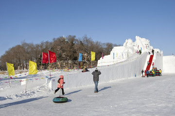 Snow slide ice sculpture at Ice Festival in Harbin, China