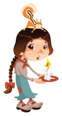 Young girl with squirrel and candle. Vector isolated scene.