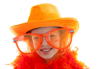 girl in orange outfit over white background