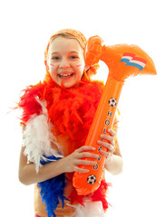 girl with orange hammer over white background