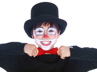 happy circus clown wearing a bow tie isolated on white