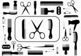 Fototapety collection beauty hair salon or barber accessories