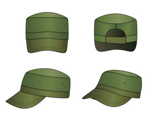 Green military cap vector illustration isolated on white