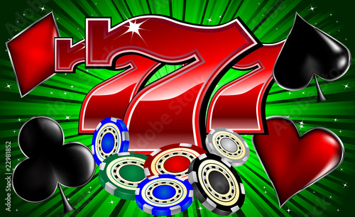 casino chips poker signs and lucky seven font