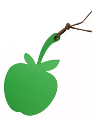 tag in the shape of green apple