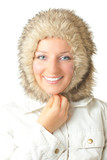 Woman in furry hat poster