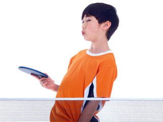 young boy playing table tennis isolated on white background