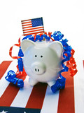 Red,white and blue patriotic piggy bank