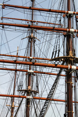 Geometric Shapes and Lines Formed by Historic Ship Masts