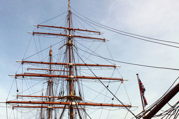 Historic Ship Masts Proudly Thrusting into Sky